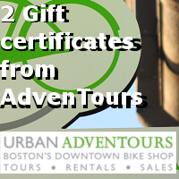 Two gift certificates from Urban Adventours, each redeemable for one tour or hybrid rental