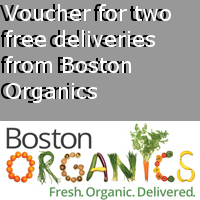Voucher for two free deliveries from Boston Organics